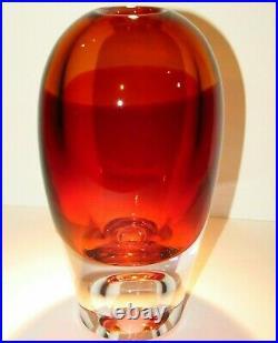 10 lbs Kosta Boda Goran Warff Amber Vase Signed & Numbered Art Glass Crystal NIB