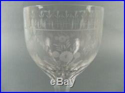 10pc Etched KOSTA BODA Wine Water Glasses Square Base Flach Pattern Sweden