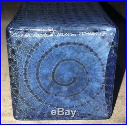 12 Kosta Boda Bertil Vallien Metropolis Blue Glass Vase Scandinavian Swedish MS
