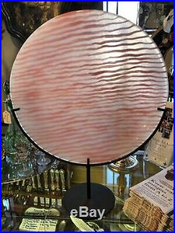 14.5 Diameter Signed Kosta Boda Pink Striped Charger with Stand