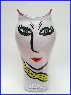 14 Kosta Boda Ulrica Hydman Vallien Open Minds Pink Art Glass Vase 7048745
