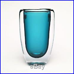 1950's Vicke Lindstrand Sommerso Teal Art Glass Vase by Kosta Boda #1709/49 RARE