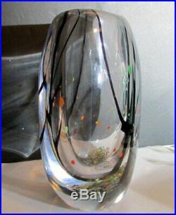 1950s VICKE LINDSTRAND Kosta LARGE Hüst TREES IN AUTUMN Art Glass Vase LH1759