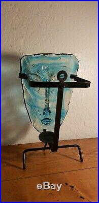 1960's Erik Eric Hoglund Kosta Boda Rare Blue Art Glass Face Mask Candle Sconce