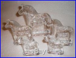 1970 Swedish Lindshammar Crystal Glass Dala Horse Family Sculpture Set of 5