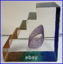1999 Swedish Kosta Boda Glass Stairs Paperweight by Bertil Vallien