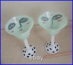 2 Goblets Ulrica Hydman Open Minds Martini Glass Kosta Boda Enamel Face Vallien
