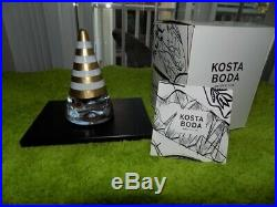 2 KOSTA BODA Sweden 4-1/2 NOEL STRIPED SANTA PAPERWEIGHT FIGURINE New in Boxes