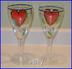 2 Kosta Boda Crystal Heart Flutes Wine or Champagne Glasses Artist Signed RARE