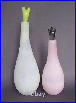 2 Kosta Boda Gunnel Sahlin Naturalis Stoppered Bottles, White & Pink Nwot