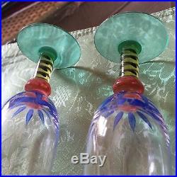 2 Kosta Boda Ken Done Palm Tree Champagne Glasses Mint Condition 7-1/4
