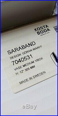2 Lot Medium & Small Kosta Boda Goran Warff Saraband Vases New 12 & 10-1/4
