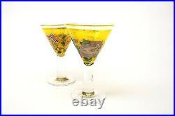 2 x Kosta Boda Bertil Vallien, Satellite Series, Large Cocktail Shape Glasses
