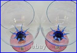 2 x Kosta Boda Ken Done Art Glass, Palm tree brandy balloons signed 1980s