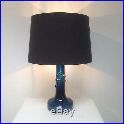 2 x Signed Kosta Boda Ove Sandeberg Blue Swedish Art Glass Table Lamps