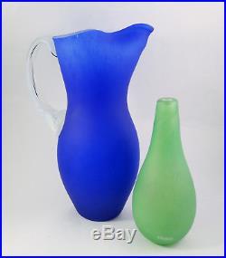 27.5cm Vintage Kosta Boda Pitcher/ jug by Gunnel Sahlin in Cobalt Blue Signed