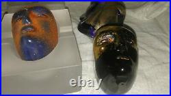 3 Kosta Boda Brain & a Cell Boda Brains Cesare, Janus (Blue & Black), Oden