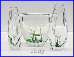 3 Kosta Boda glass vases by Vicke Lindstrand. Modern Swedish design