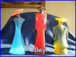 3 Signed Kosta Boda Kjell Engman Sweden Deco Catwalk Art Glass Figurine