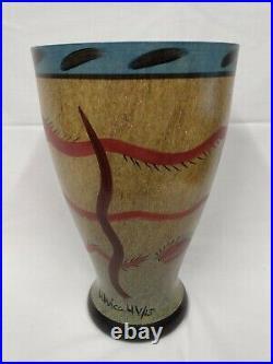 49382 Ulrica Hydman Vallien KOSTA BODA Signed LP Art Glass Nevada 13 SNAKE VASE