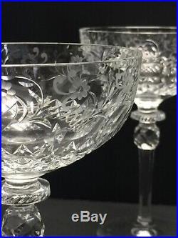 6 Antique Victorian Brilliant Cut Crystal Kosta Sweden Champagne Coupes Glasses