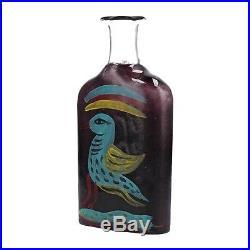 A Kosta Boda Atelier Ulrica Hydman Vallien flask Bird design Swedish art glass