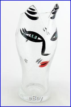 A large clear bubble glass Ulrica Hydman Vallien Open Minds vase Kosta Boda Rare