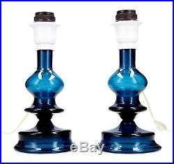 A rare pair of Kosta Bertil Vallien lamps Blue glass Sculptural Swedish (Boda)