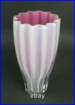 Ann Wahlstrom Signed Kosta Boda Hot Pink Ribbed Heavy 10.25 Art Glass Vase