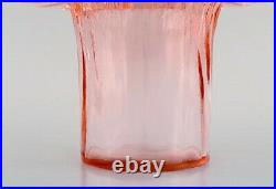 Ann and Göran Wärff for Kosta Boda. Large Krimolin vase in pink art glass