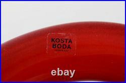 Anna Erhner for Kosta Boda. Large bowl of Basket in red art glass