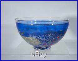 Antique Kosta Boda Mid Century Modern Abstract Glass Bowl Blue