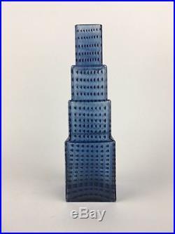 Art Deco Style Kosta Boda Metropolis Skyscraper Glass Vase Sculpture