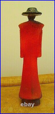 Art Glass Kosta Boda Catwalk Series Kjell Engman Figure Man in Trenchcoat Signed