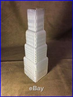 B. Vallien Signed Vase, Glass, Metropolis, Kosta Boda Skyscraper Deco