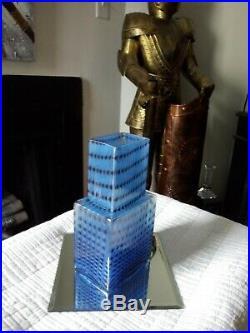 BERTIL VALLIEN. SIGNED Vase, Glass, Metropolis, Kosta Boda Blue Skyscraper