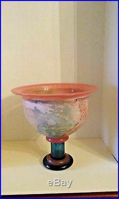 Beautiful Kosta Boda signed original work of art Multi Colored Compote bowl