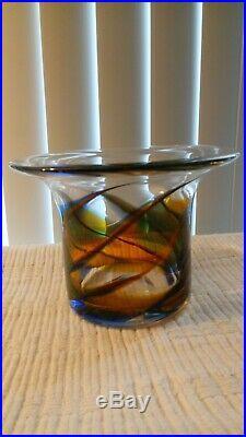 Beautiful Vintage Rare Kosta Boda Vase Goran Warff Coloful Signed & Numbered