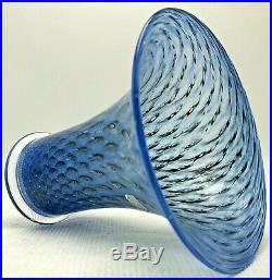 Bertil Vallien Blue Glass Vase Peacock Feather Signed Kosta Boda Sweden Mid Cent