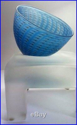 Bertil Vallien. Blue Minos Bowl On Stand. Frosted Glass Sculpture. Kosta Boda