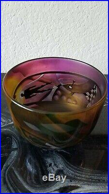 Bertil Vallien Kosta Boda Etched and Blown Art Glass Bowl signed