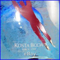 Bertil Vallien Kosta Boda Glass Paperweight Sculpture, Flying Man Series