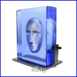 Bertil Vallien Kosta Boda Limited ed. Glas Block on Metal Stand Signed