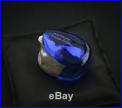 Bertil Vallien Metallic Blue Brain with Black Rest Pouch Kosta Boda Sweden