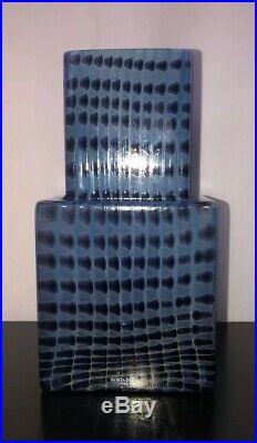 Bertil Vallien Signed Mid Century Glass Vase METROPOLIS Kosta Boda Skyscraper