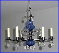 CHANDELIER Blue glass + wrought iron KOSTA BODA ERIK HOGLUND