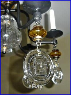 CHANDELIER Wrought iron and glass KOSTA BODA / BODA SMIDE ERIK HOGLUND