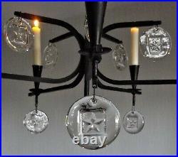 CHANDELIER wrought iron + glass pendants KOSTA BODA ERIK HOGLUND