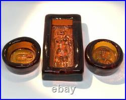 Collectibles Set ERIK HOGLUND KOSTA BODA Amber Art Glass 3 Pieces, 1960s