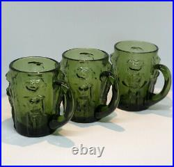 ERIK HOGLUND KOSTA BODA Beer Mugs Green Glass Adam & Eva SWEDEN, 1960s